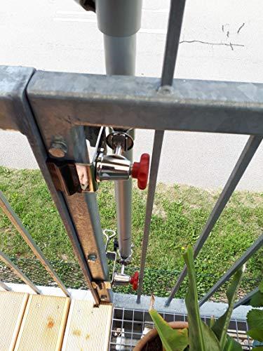 Petit support de balustrade de balcon - En acier inoxydable - Universel - Double support rotatif à 360° - Sur pied rond - Diamètre 55 mm - Pour parasols jusqu'à 38 mm de diamètre