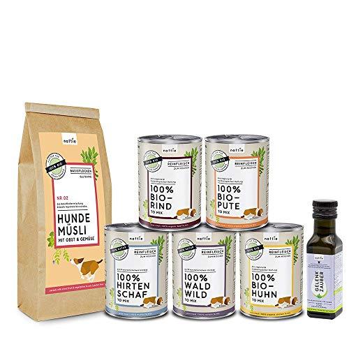naftie Bio & Premium Hundefutter Schnupperbox Pur zum Mischen | Reinfleischdosen 100% Fleisch nass Plus Bio-Flocken und Bio-Öl für Hunde | getreidefrei, glutenfrei, Singleprotein