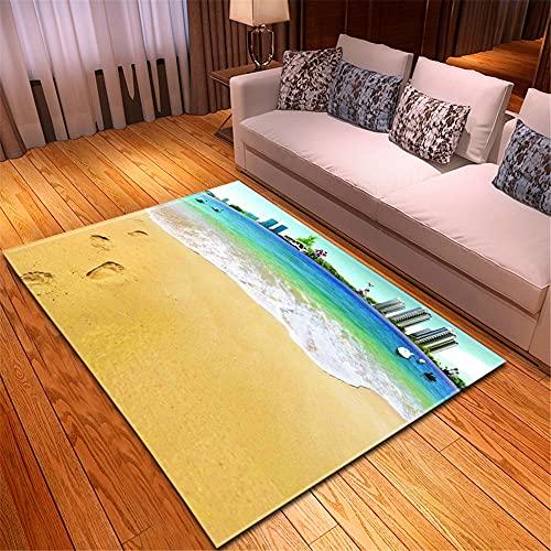 XuJinzisa Vista Al Mar Huella De Playa Alfombra De Impresión 3D Suave Antideslizante Habitación De Los Niños Sala De Estar Dormitorio Alfombra Decorativa para El Hogar 140X200Cm H11638