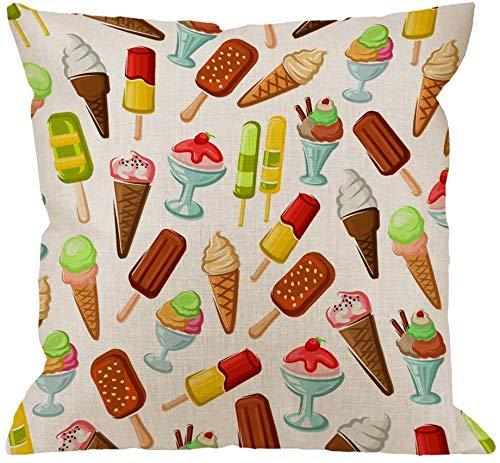 Fundas de almohada de helado, almohada decorativa con barra de chocolate, cono de gofre, fresa y caramelo, fundas de almohada de helado suave para servir, fundas de cojín para sofá, 18 x 18 pulgadas