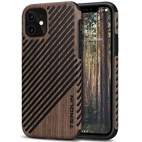TENDLIN Kompatibel mit iPhone 11 Hülle Holz & Leder Hybrid Handyhülle (Schwarz Palisander)