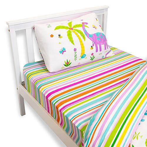 Happy Linen Company Sábana Bajera Infantil - Estampado de Dinosaurios con Rayas - Rosa/Blanco - Tamaño bebé