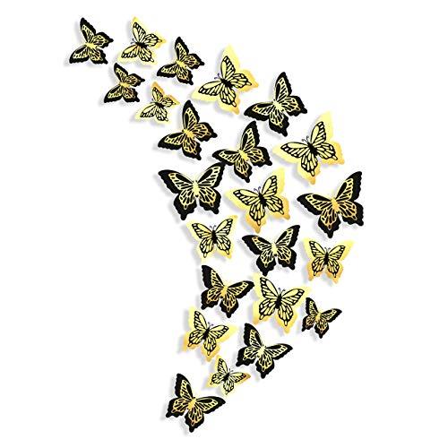 Adhesivos decorativos mariposas negras y doradas mariposas 3D calcomanías de pared extraíbles murales adhesivos de pared metálicos para casa niños dormitorio vitrina decoración pared (24 unidades)