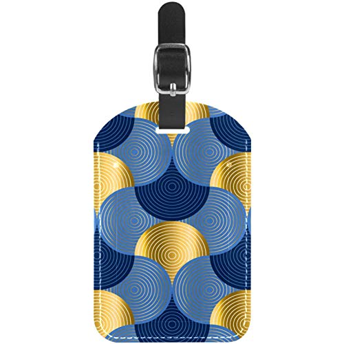 Luggage Tags Blue and Gold Sea Water Waves Leather Travel Suitcase Labels 1 Packs