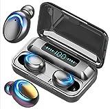 Écouteurs intra-auriculaires sans fil pour iPhone/Android, Bluetooth V5.0, écouteurs stéréo sans fil, écouteurs sans fil étanches, avec étui de chargement et batterie externe