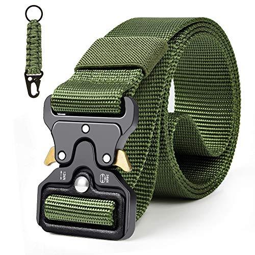 Qhui Taktischer Gürtel, Schwerlast Herren Nylon Militär Gürtel, Schnellverschluss Metallschnalle Tactical Rigger Gürtel mit Wasserkocher-Schnalle für Draussen Sportarten Camping 130*3.8cm (Grün)