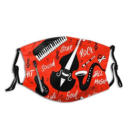 RUBEITA Wiederverwendbare Unisex-Nasengesichtsabdeckung Klavier, Trompete, Becken, Gitarre, Cello und Saxophon Staub Mundabdeckung Einstellbare Ohrschlaufen mit austauschbarem Filter