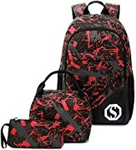 CAMTOP School Backpack Boys Kids School Bookbag Set Student Backpack with Lunch Box and Pencil Case (Graffiti - Red)