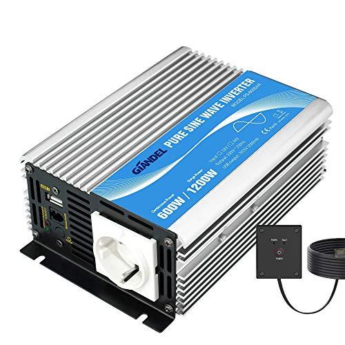 GIANDEL Power Inverter Onda Sinusoidale Pura 600W DC 12V a AC 220V 230V Invertitore di Potenza Convertitore con telecomando & porta USB per Camper,Auto