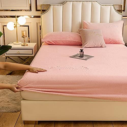 YFGY Sábana Bajera Ajustable King Rosa Claro, sábana de Cama de Terciopelo, Funda de colchón de Color sólido, Funda de Cama de Franela, Protector cálido 150x200cm