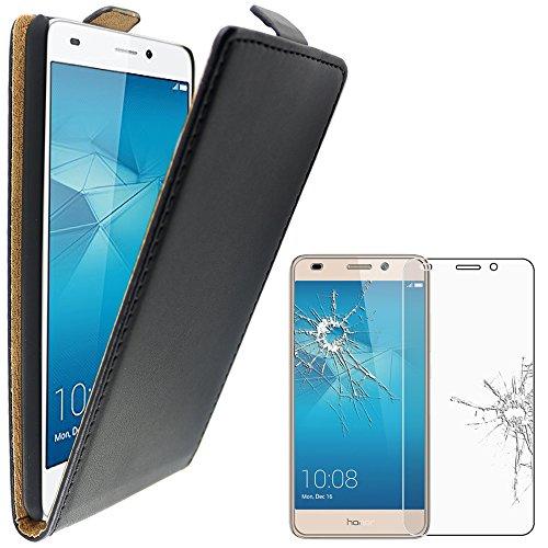 ebestStar - Huawei Honor 5C Hülle PU Kunstleder Etui mit Klappe, Handyhülle Schutzhülle Case Cover, Schwarz + Panzerglas Schutzfolie [Honor 5C: 147.1 x 73.8 x 8.3mm, 5.2'']