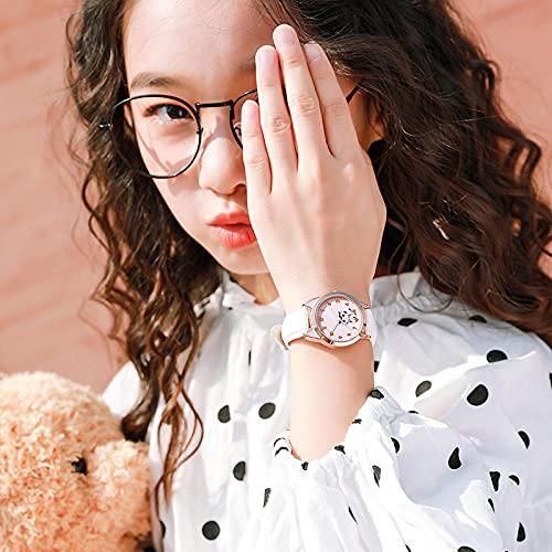 SANDA Relojes para Niña,Puntero para niños Reloj electrónico de Cuarzo Adolescente Impermeable 5-15 años de Edad Estudiantes Estudiantes niña Amor niña-Cinturón de Oro Blanco