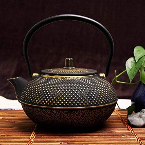 YNHNI Caldera de té Ollas Esmalte Caldera Tradicional Hecha a Mano Tetera de Hierro Fundido