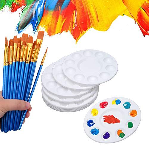 50 pinceles de pintura con 12 piezas de bandeja de pintura para niños y adultos para crear pintura acrílica al óleo y acuarela