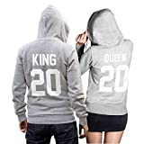 King Queen + Wunschnummer Set 2 Hoodies Pullover Pulli Liebe Love Pärchen Couple Grau (King Gr. L + Queen Gr. S)