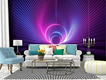 Self Adhesive Wallpaper Roll Paper 3d render pink violet neon abstract background with glowing ring shape Removable Peel and Stick Wallpaper Decorative Wall Mural Posters Home Covering Interior Film