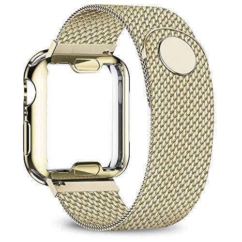 DYH&PW Correa compatible con Apple Watch Band de 40 mm, 44 mm, 38 mm, 42 mm, carcasa de metal chapada en acero inoxidable, compatible con iWatch Series 3 4 5 6 SE, dorado, 42 mm Series 3 2 1