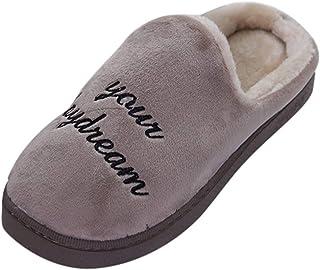 Manadlian-Homme Chaussons Hommes Confort Pantoufles Molles Mousse Veritable Chaudes Hiver de 100% Laine Doublure Pantoufle...