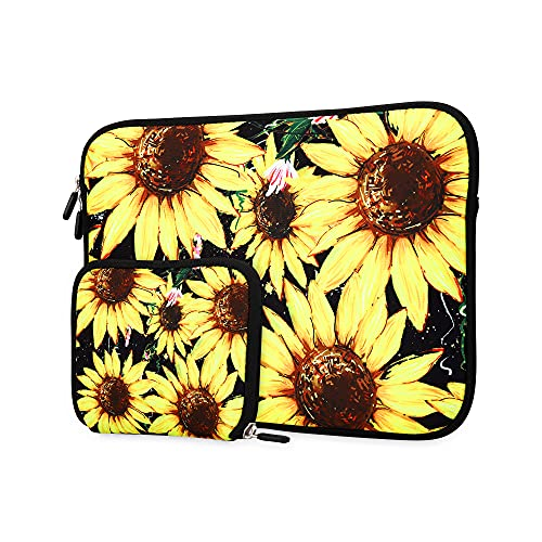 11.6 12 12.5 13 13.3 inch Laptop Sleeve Compatible with 13-13.3 inch MacBook Pro, MacBook Air, Notebook Tablet Computer PC, Neoprene Protection Sleeve Cover Bag with Small Case(Sunflower)