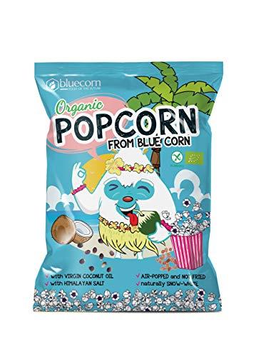 BLUECORN Bio-Popcorn aus Blauem Mais 8er x 20g | Luft-Gepoppt (NICHT FRITTIERT) | Mit nativem Kokosöl und Himalaya-Salz (
