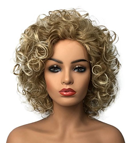 Wiginway Women Wigs Medium Curly Gold Wigs Synthetic Wig Best Natural Wigs for Women 8 Inch