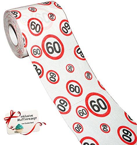 alles-meine.de GmbH 1 Rolle _ Toilettenpapier -  60. Geburtstag / Happy Birthday  - 25 m - Verkehrsschild - WC Klopapier Klopapier - lustig Klorolle große Rolle / sechzigster /..