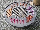 BlackOrange Piastra in acciaio Ø 78 cm con foro per fuoco/griglia Ø 36 cm e 4 maniglie saldate stabili/alette di sicurezza per braciere con diametro di 80 cm