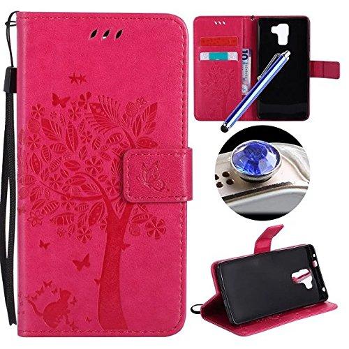 Huawei Honor 7 Coque,Etsue Fine Folio Cuir Coque de Téléphone Mobile pour Huawei Honor 7,Raffinement Degré Supérieur Mode Leather Case étui [Relief Arbre Rose Red Motif] pour Huawei Honor 7,Carte de Visite Dossier Fonction Support Portefeuille Pochette Housse en Cuir pour Huawei Honor 7 avec Lanière Cadeaux Gratuit + 1 x Bleu stylet + 1 x Bling poussière plug (couleurs aléatoires)