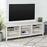Walker Edison Furniture Company Minimal Farmhouse Wood Universal Stand for TV's up to 80' Flat Screen Living Room Storage Shelves Entertainment Center, White Wash