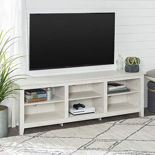 Walker Edison Furniture Company Minimal Farmhouse Wood Universal Stand for TV's up to 80' Flat Screen Living Room Storage Shelves Entertainment Center, White