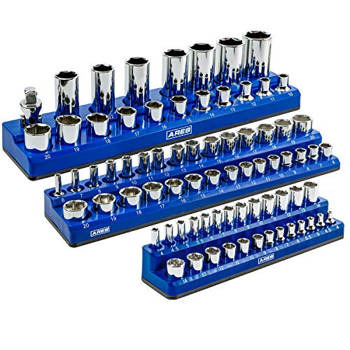 ARES 60036-3-Piece Set Metric Magnetic Socket Organizer - Blue - Includes 1/4 in, 3/8 in, 1/2 in Socket Holders - 75 Pieces of Standard (Shallow) and Deep Sockets - Keeps Your Tool Box Organized