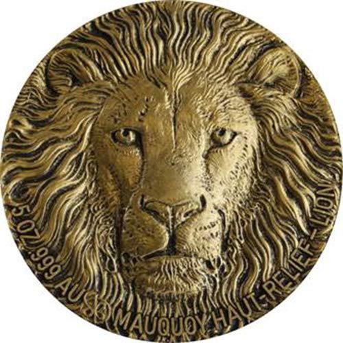 Power Coin Lion Leon Big Five Mauquoy 5 Oz Moneda Oro 10000 Francos Ivory Coast 2016