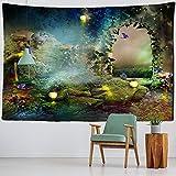 NC153 Tapiz Colgante de Pared de Castillo de Setas, Tapiz Fluorescente de Arte Natural, Estrella, Galaxia, Alfombra mágica, Tapiz de árbol de Bosque mágico