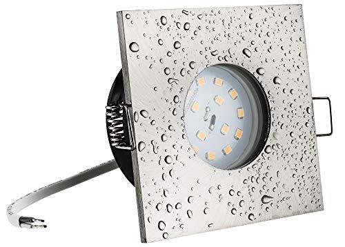 Ultra Flacher Bad Einbaustrahler Lilly IP65 3,5cm Einbautiefe 5Watt Modul 400Lumen Warmweiß 230Volt Strahlwassergeschützt Rostfrei Badezimmer Dusche Vordach Keller
