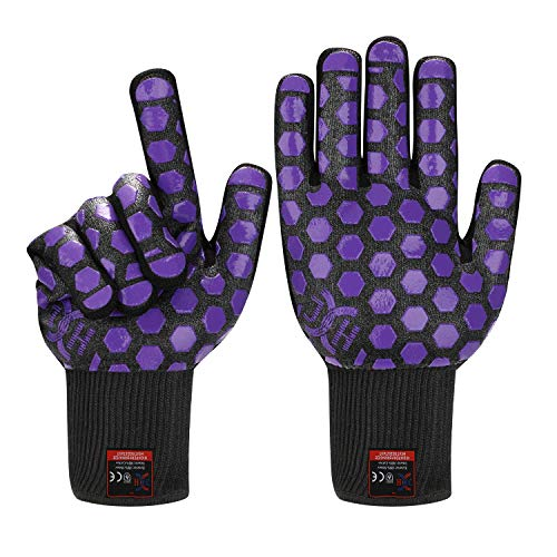 J H Heat Resistant Oven Glove:EN407 Certified 932 °F, 2 Layers Silicone Coating, Oven Mitts for Cooking, Kitchen, Fireplace, Grilling, 1 Pair (Regular Cuff, Black Shell with Purple)