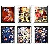 Juego de 6 pósteres de anime Uchiha Itachi Pain Uzumaki Naruto para decoración del hogar, 20,3 x 25,4 cm, sin marco