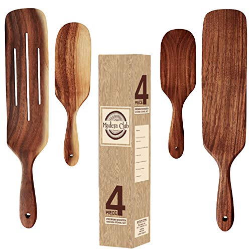 Madera Club 4-Piece Wooden Spurtle Set - Spoons for Cooking - Hand Made from 100% Acacia Wood - Durable Non Stick Kitchen Utensil Sets with Easy Grip Handle for Stirring, Mixing, Serving & Spreader