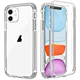 iPhone 11 Case, Anuck Crystal Clear Full-Body Protective Case with Built-in Screen Protector Heavy Duty Defender Shockproof Hard PC Shell Soft TPU Bumper Cover for Apple iPhone 11 6.1' 2019 - Clear