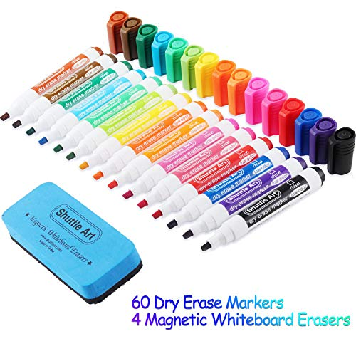 Dry Erase Markers with Eraser, 60 Pack Shuttle Art 15 Colors White Board Markers and Eraser, Low-Odor, Chisel Tip Usable on Whiteboard Surface for School Office Home