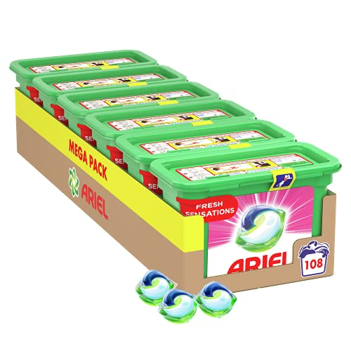 Ariel Pods Detergente Lavadora Cápsulas, 108 Lavados (Pack 6 x 18), Fragancia Sensaciones