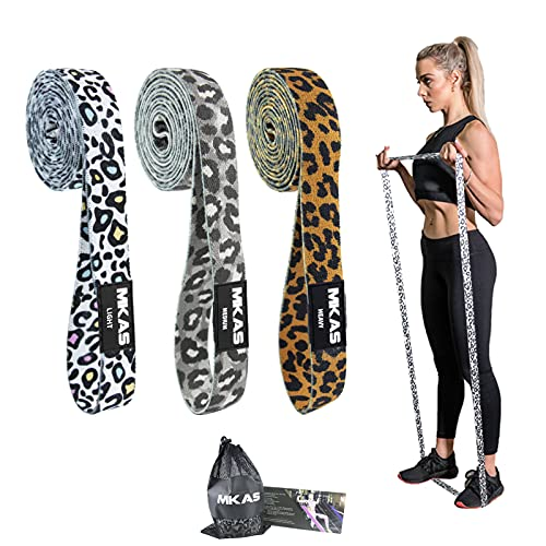 MKAS Long Resistance Bands Set Fabric Pull Up Assistance Exercise Bands 3 Pack Thick Cloth Stretch Workout Bands for Exercise, Leopard Loop Resistance Band Set for Full Body Workout & Weight Training