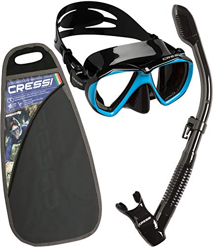 Cressi Ranger & Dry Kit máscara Tubo, Unisex Adulto, Negro/Azul Claro, Talla Única