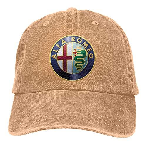 Tengyuntong Herren Damen Baseball Caps,Hüte, Classic Mützen, Bedruckte lässige Kappen Alfa Romeo Logo Mode Baseballmützen schwarz