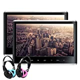 XTRONS Dual Car DVD Players 11.6 Inch IPS Screen Portable Car Headrest CD Player with 2 Children Wireless Headphones Support 1080P Video, HDMI, USB/SD, AV in/Out, Region Free, IR, 32 Bits Game