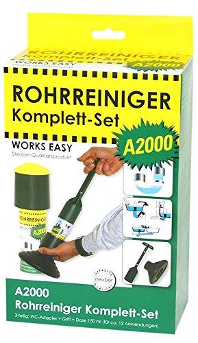 purclean Rohrreiniger A2000 Set - Macht Pümpel, Pömpel u. Rohrreinigungsspirale überflüssig!, 100 ml, WC-Adapter, Griff
