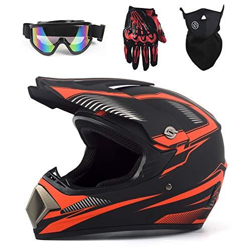 MOTUO Cross Motocross Casco integral para niños, casco de motocicleta, scooter, unisex, juego de casco BMX, ATV, guantes, gafas, máscara, rojo, L
