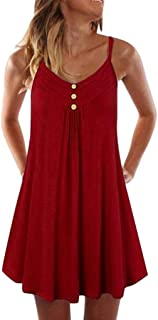 Women's Casual Summer Tank Sleeveless Knee Length Pleated Sun Dresses Cami Tank