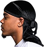 Veeta Superior Velvet Durags (Multiple Colors) - Soft Velvet Fabric | Silky Liner | Long Straps Black