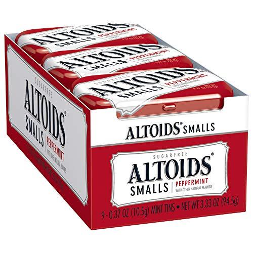 Altoids Smalls Peppermint Breath Mints 0.37 Ounce Tin Pack of 9 by Altoids