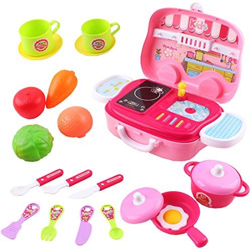 deAO Toys Little Chef Kitchen - Maletín portátil con Accesorios (Rosa)